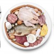 Raw meat and dairy products on a plate. - Stock Photo