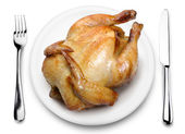Roast chicken on a plate. — Stock Photo