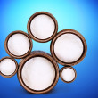 Abstract design of round shapes in the form of beer barrels on a — Stock Photo