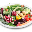 Lots of vegetables on a plate. — Стоковое фото