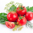 Tomatoes, cooked with herbs for the preservation — Stock Photo #11997500