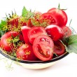 Tomatoes, cooked with herbs for the preservation — 图库照片