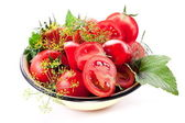 Tomatoes, cooked with herbs for the preservation — Stock Photo