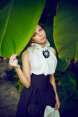 Portrait woman in retro dress — Stock Photo