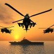 Stock Photo: Apache Helicopters and Aircraft Carrier