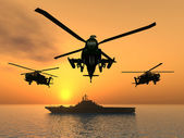 Apache Helicopters and Aircraft Carrier — Stock Photo