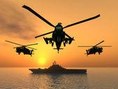 Apache helikopter ve uçak gemisi — Stok fotoğraf