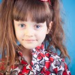 Beautiful little girl on a blue background — Stock Photo #11794610