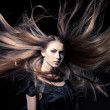 Closeup portrait of glamour young girl with beautiful long hair — Stock Photo #11794640