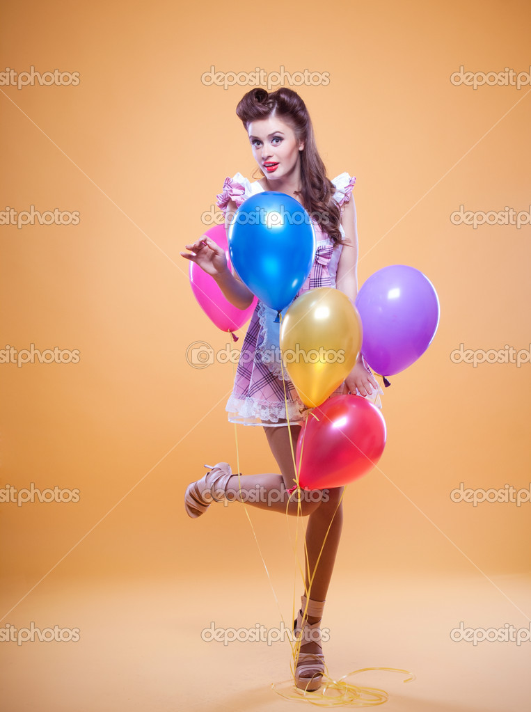 Beautiful pin up with balloons — Stock Photo #11794565