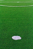 Lines on soccer field green grass — Stock Photo