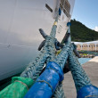 Ship mooring ropes - Stock Photo