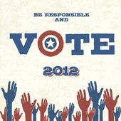 Vote! Retro poster, vector illustration, EPS10 — Vettoriale Stock