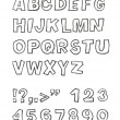 Handwritten sans-serif alphabet, vector, EPS 8 - Stock Vector