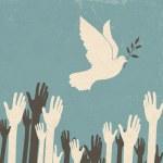 Gruppe von Händen und Friedenstaube. Retro Abbildung, eps10 — Stockvektor