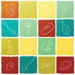 Restaurant icon collection in colorful boxes. Vector, EPS10. — ベクター素材ストック