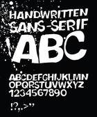 Handwritten grunge sans-serif alphabet. Vector, EPS 8 — Stock Vector