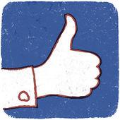 Like symbol. GRunge button illustration, EPS10 — Stock Vector