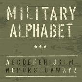 Alphabet vintage militaire. vecteur, eps10 — Vecteur