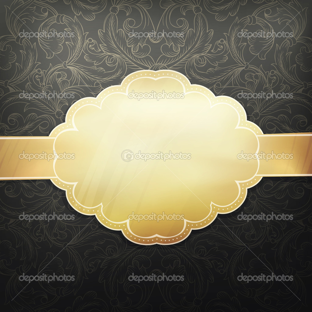 Retro golden card design template. Vector, EPS 10 — Stock Vector #11653728