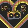 Love Disco, Love Retro. Vintage poster design template, vector, — Stock Vector
