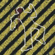 Murder Silhouette on yellow hazard lines. Accident prevention or crime scene concept illustration - Stok Vektör