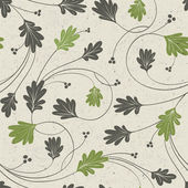 Oak leaves stylized seamless pattern, vector. — Stock Vector