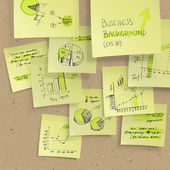Yellow sticky notes with business infographics on cork board, cl — Stok Vektör