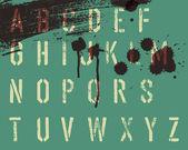 Wzornik nieczysty alfabet z kropli i smugi. wektor, eps10 — Wektor stockowy