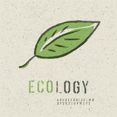 生態学の概念のコレクションです。緑の葉の画像、シームレスな r を含める — ストックベクタ