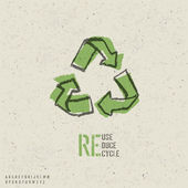 Reuse, reduce, recycle poster design. Include reuse symbol imag — ストックベクタ