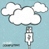 Cloud computing concept illustration, usb cabel and clouds icons — Stock Vector