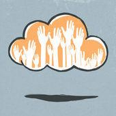 Mani di nuvola. illustrazione vettoriale disegnati a mano, eps10. — Vettoriale Stock