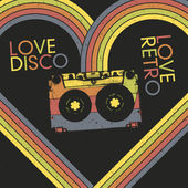 Love Disco, Love Retro. Vintage poster design template, vector, — Stock Vector