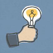 Businessman with Idea Bulb. Hand-drawn vector illustration, EPS1 — Stock Vector