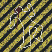 Silhouette de meurtre sur des lignes de danger jaune. illustration de concept – scène accident prevention ou crime — Vecteur