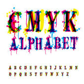 CMYk alphabet. Composition from unrecognized different letters a — Stock Vector