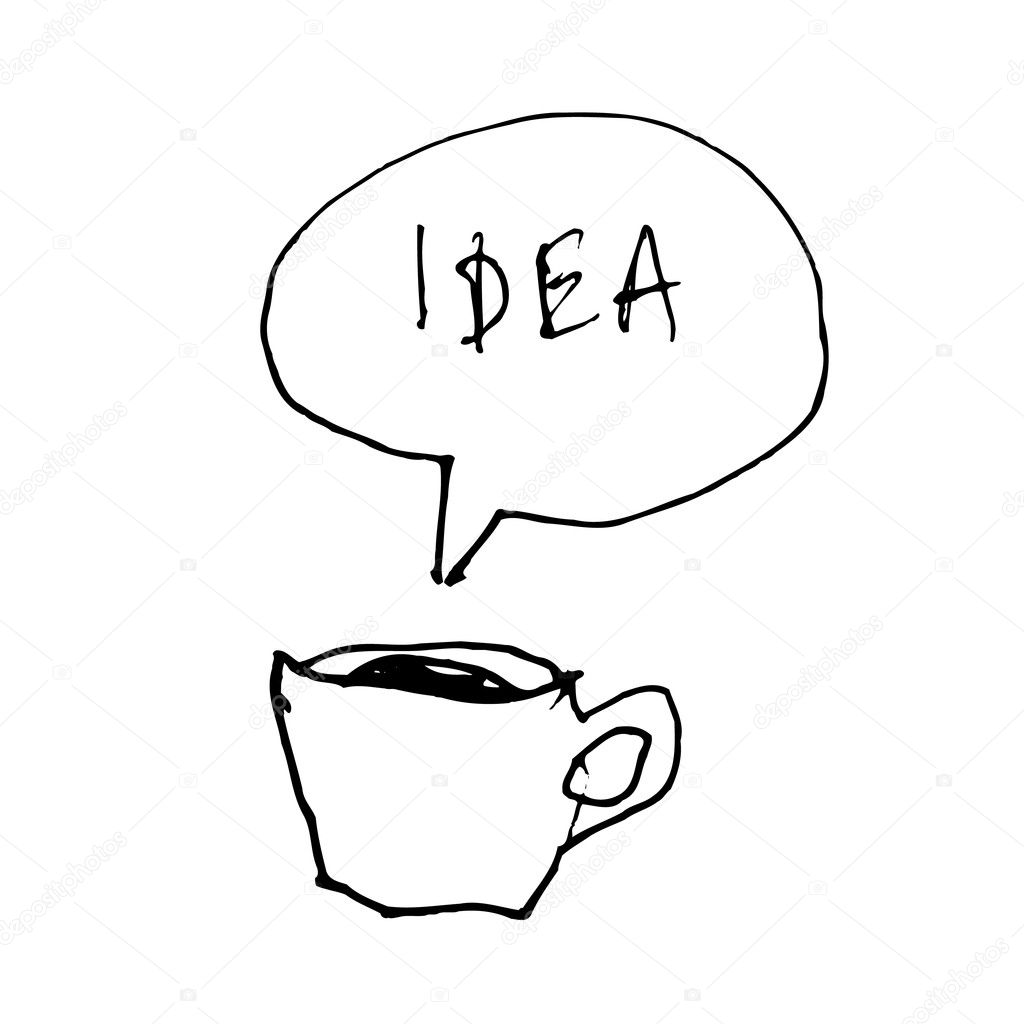 Coffee cup symbol with idea word in speech bubble. Hand-drawn illustration — Stock Vector #11978919