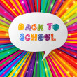 Back to school words in speech bubble on colorful rays. Vector i — Stock Vector