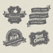 Vintage hand-drawn labels collection on textured paper. Vector i — Stock Vector