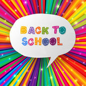 Back to school words in speech bubble on colorful rays. Vector i — Vettoriale Stock