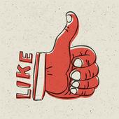Thumb up symbol. Retro styled vector illustration, EPS10 — Stock Vector