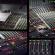 audio mixing console in studio — Stockfoto