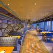 An elegant deluxe dining hall in cruise ship — Stock Photo