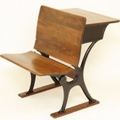 Antique School Chair and Desk — Stock Photo