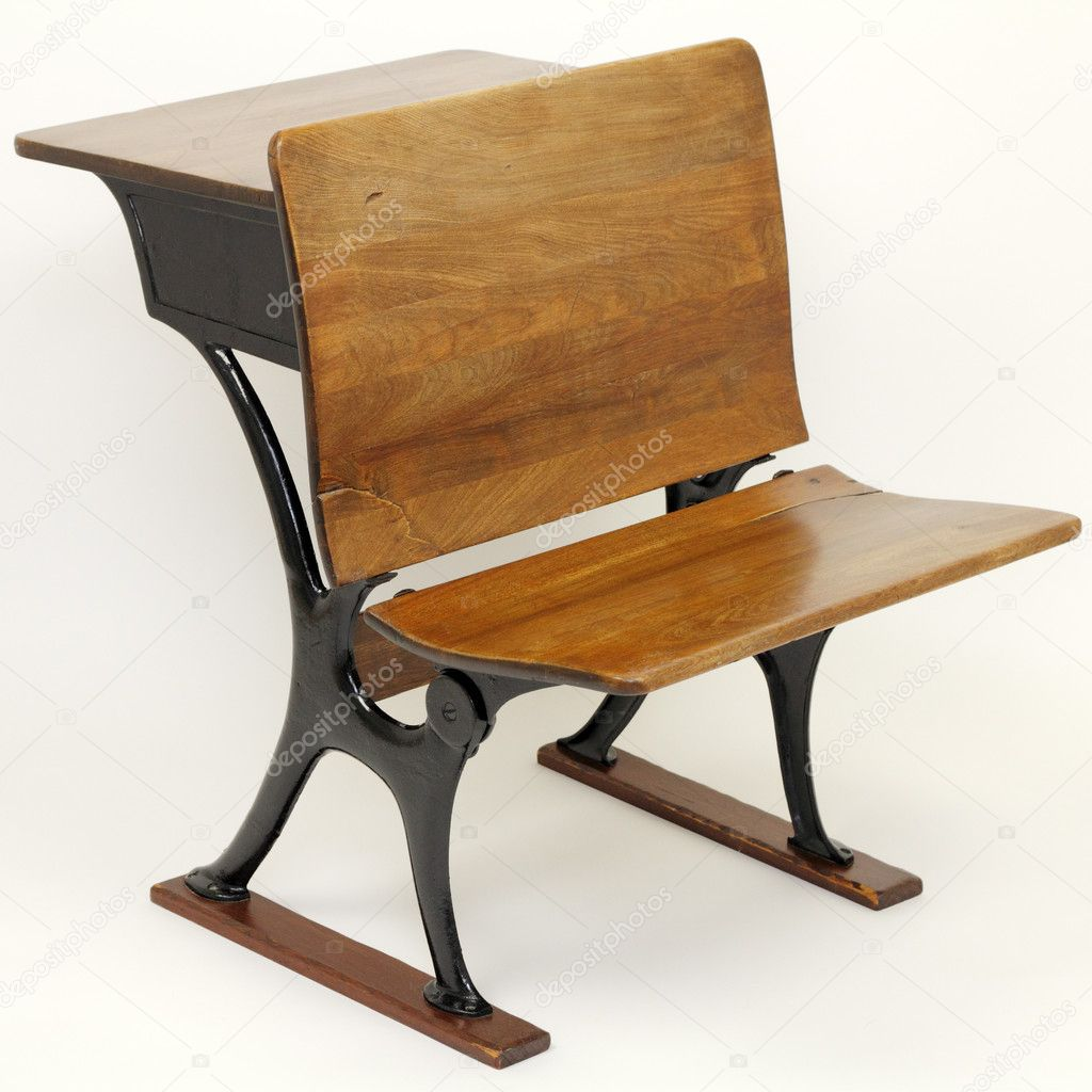 Antique School Desk Chair Combination Stock Photo