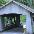 Cedar Creek Wood Bridge - Stock Photo