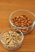 Walnuts and Almonds — Stock Photo