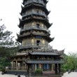 High pagoda in buddhist temple — Stock Photo