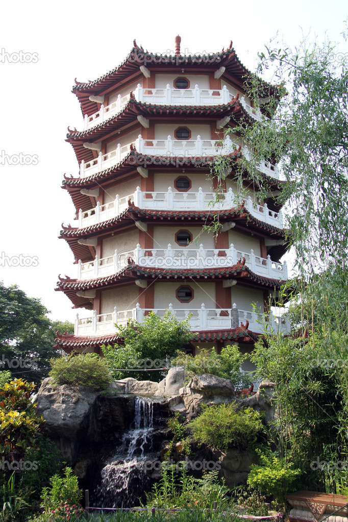 Pagoda and waterfall in the garden, Changhua, Taiwan  Stock Photo #10957623